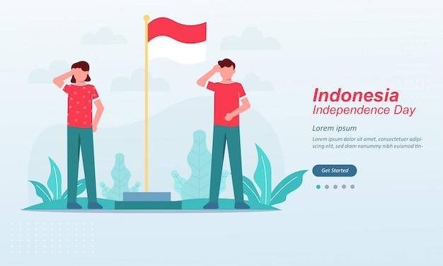 Modello felice della pagina di atterraggio di festa dell'indipendenza dell'indonesia