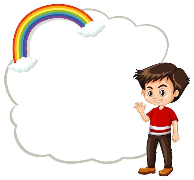 Modello felice di ragazzo e nuvola