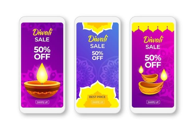 Modello felice di storie di vendita di instagram diwali