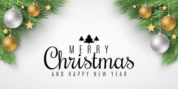 Modello festivo per buon natale e felice anno nuovo