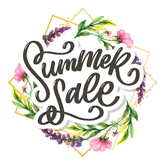 Modello floreale alla moda. illustrazione dell'iscrizione dei fiori di estate e di vendita di estate. trama squallida oro su sfondo a strisce.