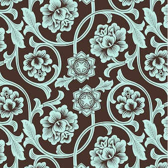 Modello floreale antico colorato ornamentale asiatico.