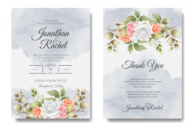 Modello floreale colorato invito a nozze