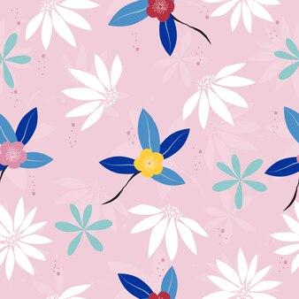 Modello floreale d'annata disegnato a mano sveglio senza cuciture