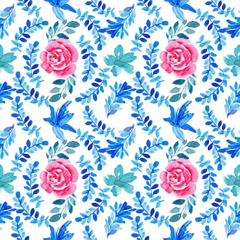 Modello floreale dell'acquerello senza cuciture rosso blu