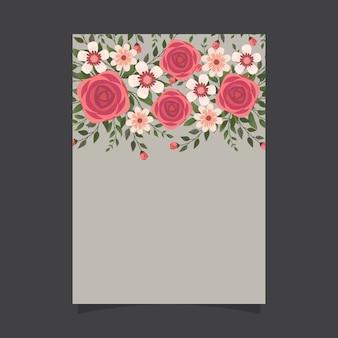 Modello floreale dell'invito con le rose