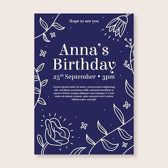 Modello floreale dell'invito della festa di compleanno