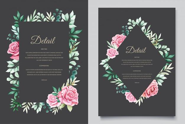 Modello floreale dell'invito di nozze dell'acquerello
