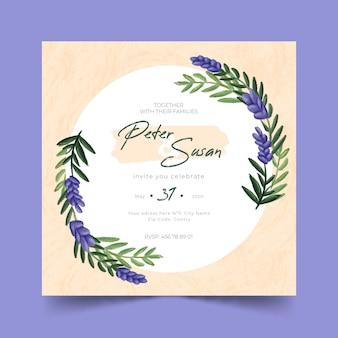 Modello floreale dell'invito di nozze