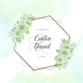 Modello floreale della struttura della rosa di verde dell'invito di nozze