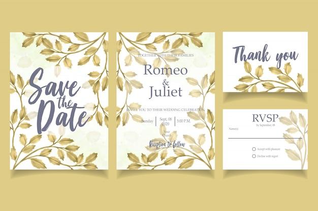 Modello floreale di foglia oro invito ad acquerello carta festa di nozze