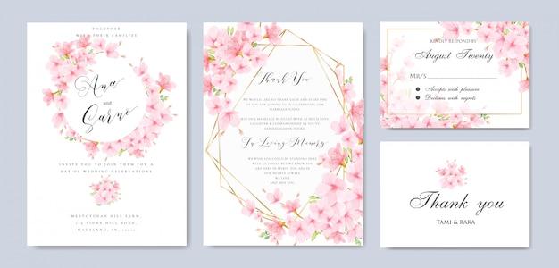 Modello floreale di nozze cherry blossom frame