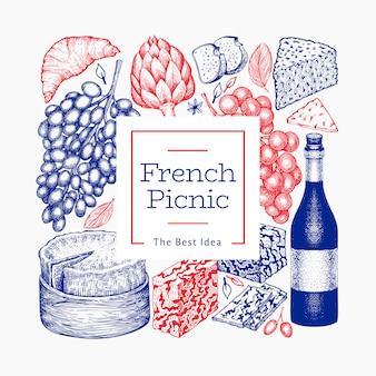 Modello francese di progettazione dell'illustrazione dell'alimento. illustrazioni disegnate a mano del pasto di picnic. banner di snack e vino diverso stile inciso. sfondo di cibo vintage.