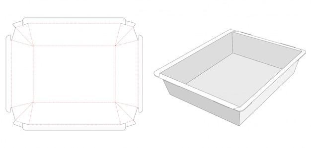 Modello fustellato vassoio contenitore per alimenti pieghevole