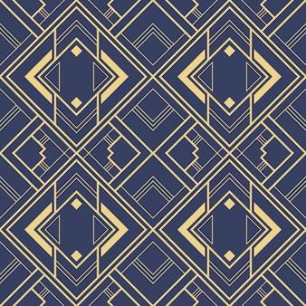 Modello geometrico blu delle mattonelle di art deco astratto.