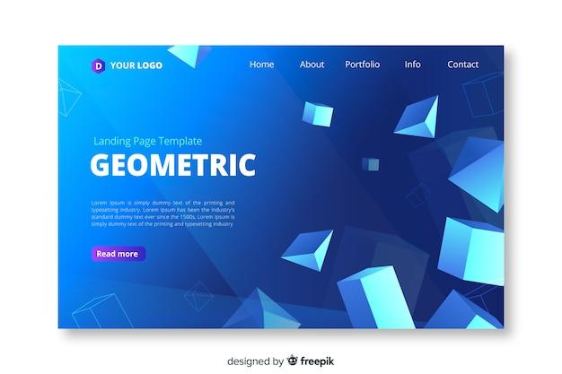 Modello geometrico della pagina di atterraggio di forme geometriche 3d