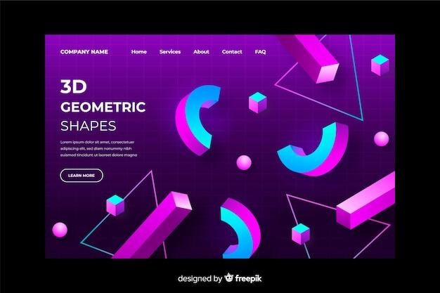 Modello geometrico di landing page gradiente 3d