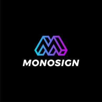Modello geometrico moderno di logo di pendenza di colore della lettera m.