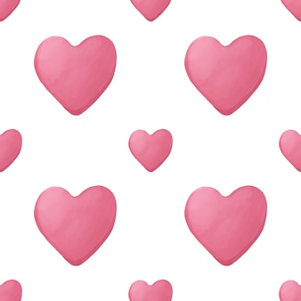 Modello geometrico senza cuciture con cuore disegnato a mano dell'acquerello rosa