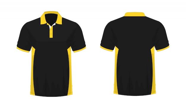 Modello giallo e nero di polo della maglietta per il disegno su priorità bassa bianca.