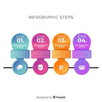 Modello gradiente di infografica passi