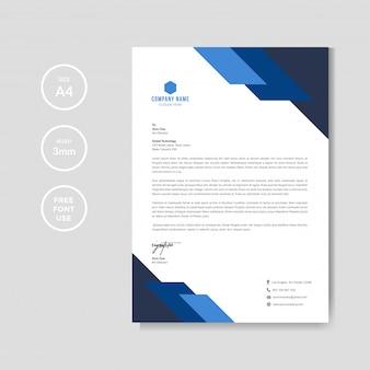 Modello grafico professionale di carta intestata blu