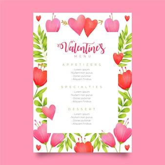 Modello grazioso del menu di san valentino dell'acquerello