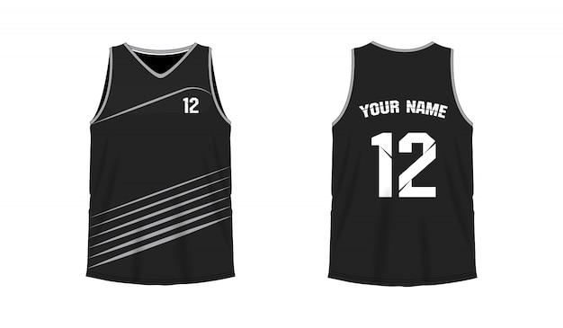Modello grigio e nero della maglietta di pallacanestro o di calcio per il club della squadra su fondo bianco. jersey sport,