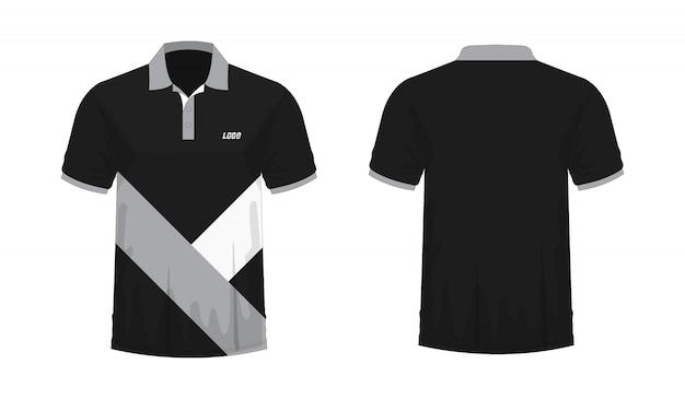 Modello grigio e nero di polo della maglietta per il disegno su priorità bassa bianca.