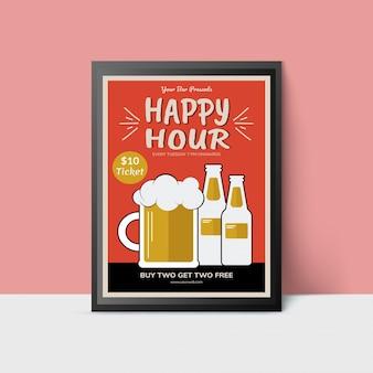 Modello happy hour con boccale di birra e bottiglie per web, poster, flyer, invito a fare festa nei colori arancioni e dorati.
