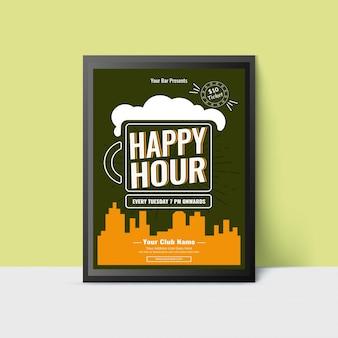 Modello happy hour con boccale di birra per web, poster, flyer, invito alla festa in verde acqua e colore giallo.