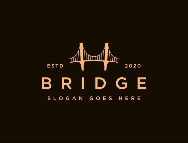 Modello icona logo ponte minimalista