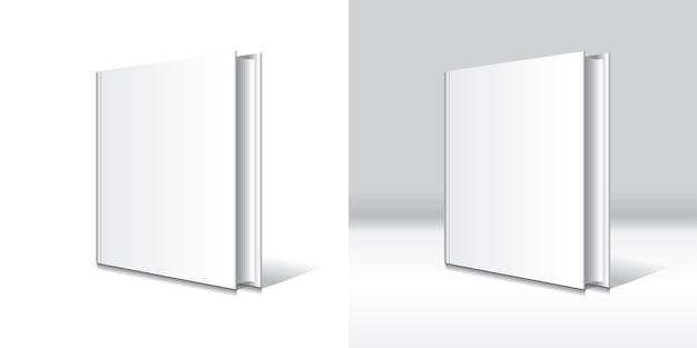 Modello in bianco bianco del libro dalla copertina rigida isolato.