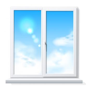 Modello in bianco bianco realistico della finestra del pvc di vettore