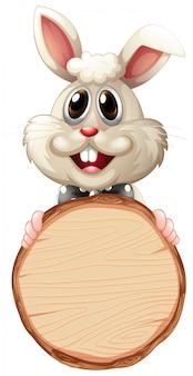 Modello in bianco del segno con il coniglietto sveglio su fondo bianco