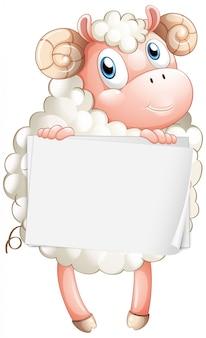Modello in bianco del segno con le pecore bianche su fondo bianco