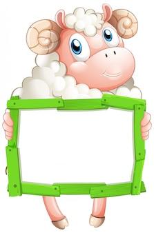 Modello in bianco del segno con le pecore su fondo bianco