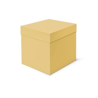Modello in bianco della scatola di cartone su fondo bianco.