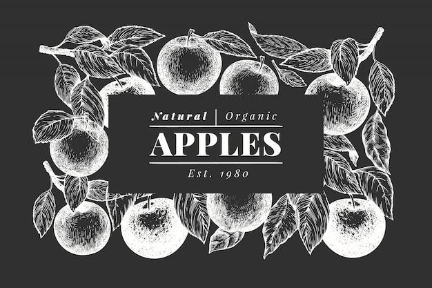 Modello in bianco e nero del ramo di mele.