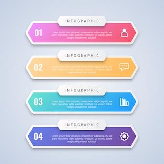 Modello infografica 4 punti colorato con 4 passaggi etichette per layout di flusso di lavoro, diagramma, web