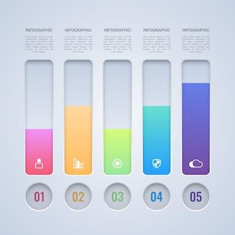 Modello infografica barra colorata a 4 passaggi