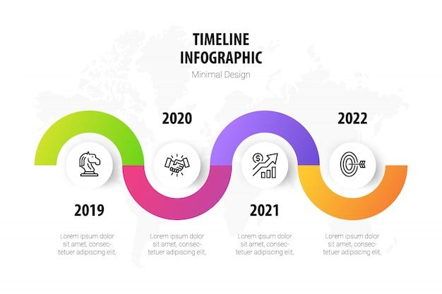 Modello infografica minimal timeline