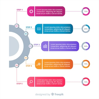 Modello infografica passi colorati