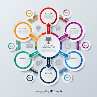 Modello infografica passo colorato