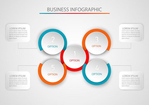 Modello infographic astratto con cinque passaggi. modello di infografica.