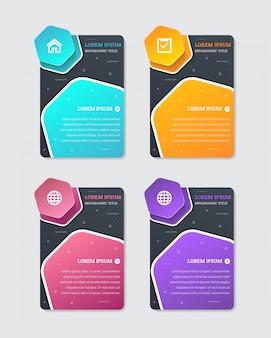 Modello infographic astratto di affari con quattro esagoni nel bordo bianco e nel fondo nero di colore. forma verticale rettangolo con motivo a linea diagonale. i colori sono blu, arancione, viola e rosa.