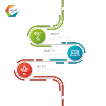 Modello infographic astratto di cronologia della strada di 3 punti.