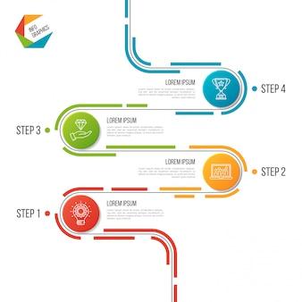 Modello infographic astratto di cronologia della strada di 4 punti.