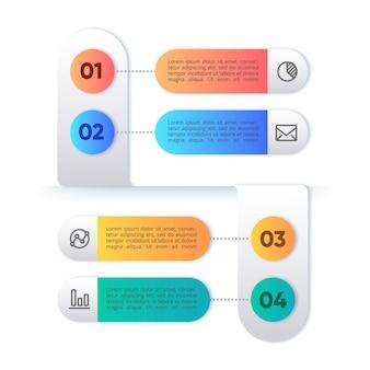 Modello infographic colorato con passaggi