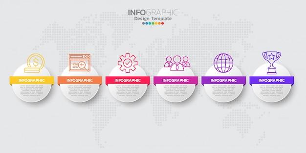 Modello infographic colorato moderno timeline con icone